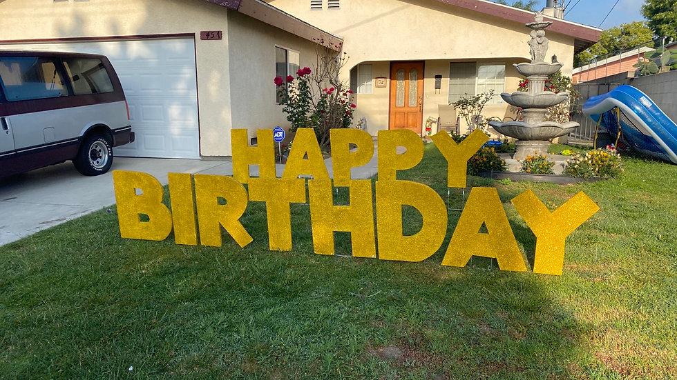Lawn Gold Happy Birthday Signs Rental & Installed