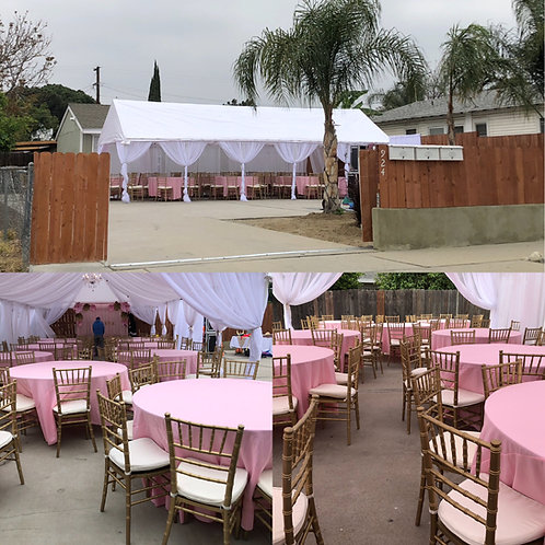 20 by 30 tent draped