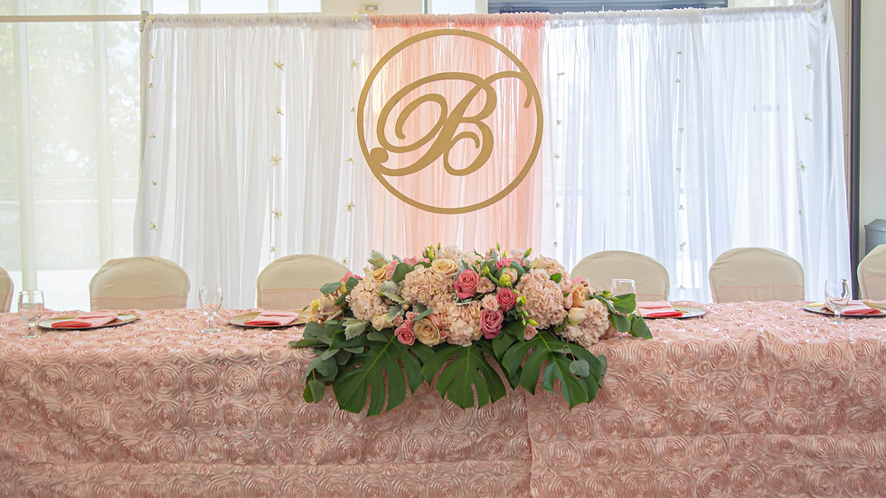 12 feet Pipe and Drape Backdrop w/ wood name