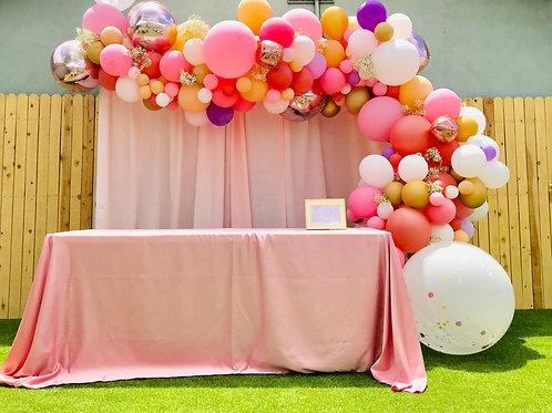 14 feet Jumbo Balloon Garland with drape backdrop