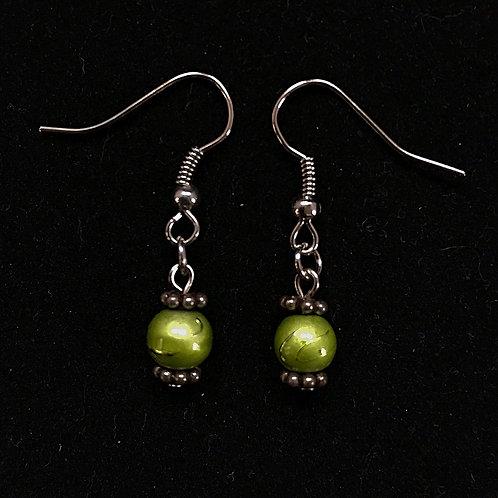 Green Bead Fashion Earrings