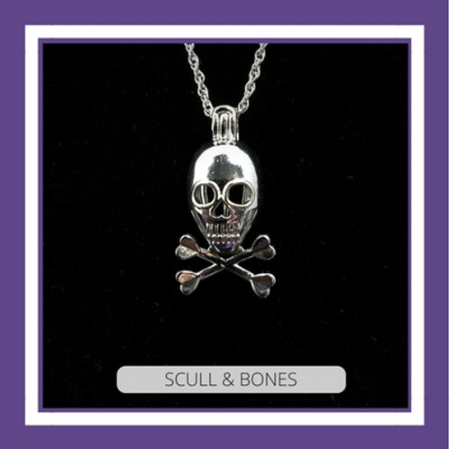 Silver Plated SCULL & BONES NECKLACE