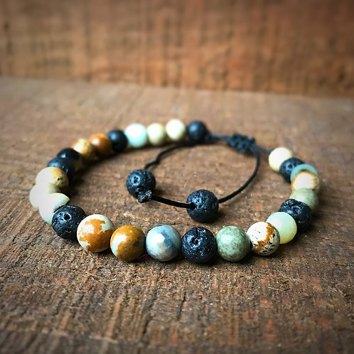 Lava Rock and Stone Bead Bracelet