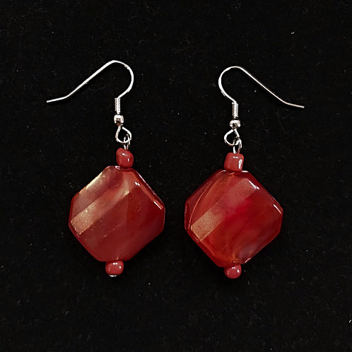 Square Red Fashion Earrings