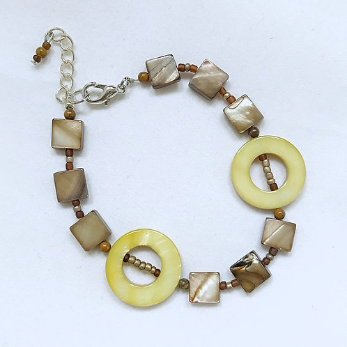 Round Green and Square Brown Fashion Bracelet