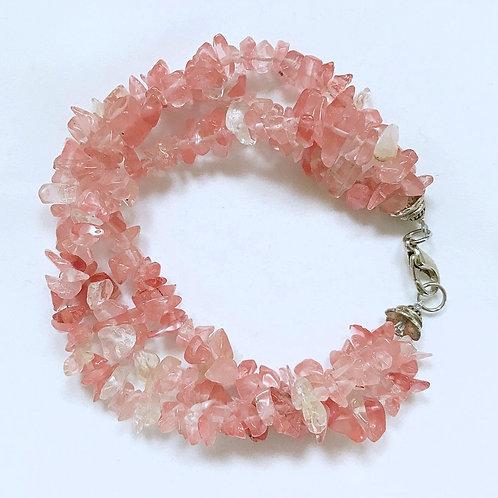 Pink Sea Glass Fashion Bracelet
