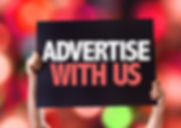 Advertise With Us card with bokeh backgr