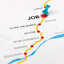 Job as target in the careers road. Conce