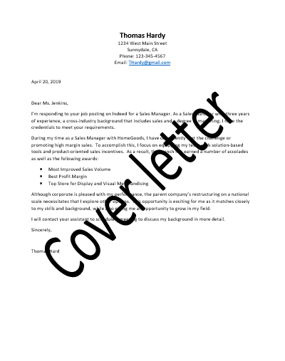 Cover letter & Thank you letter
