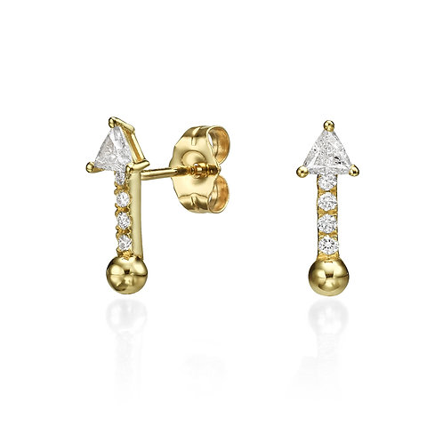 Bullet Earrings Yellow Gold