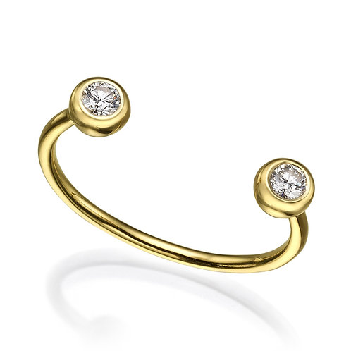 Open Pierce Ring 2 White Diamonds