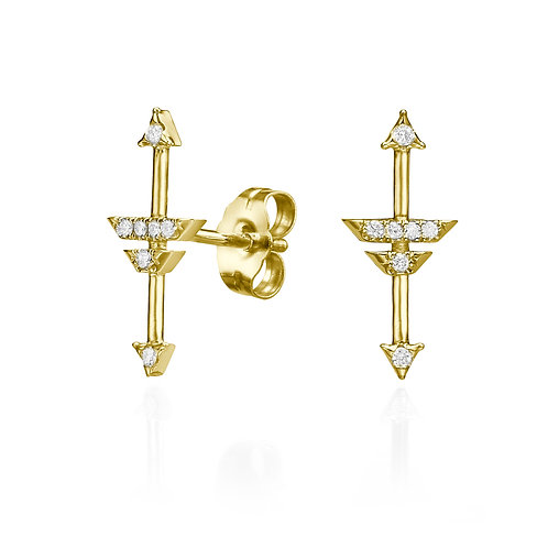 Compass of my heart earrings Yellow Gold
