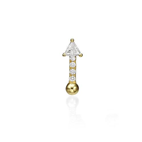 Single Bullet Earring 3.5mm Trilliant cut Diamond