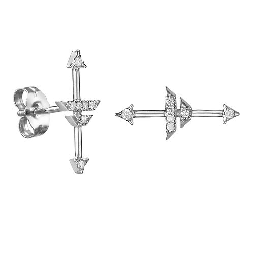 Compass of my heart earrings White Gold