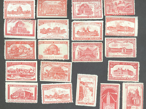 Red set of all 20 building stamps