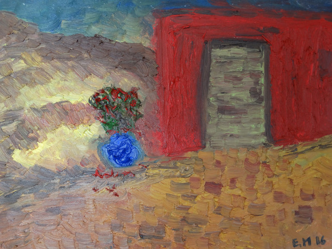 Green Door with Oleander.JPG
