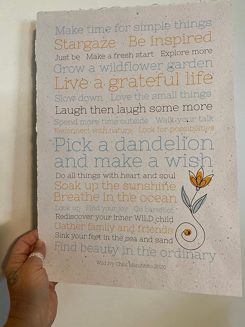 A3 Wild Ivy Child Manifesto ( paper colour : natural)