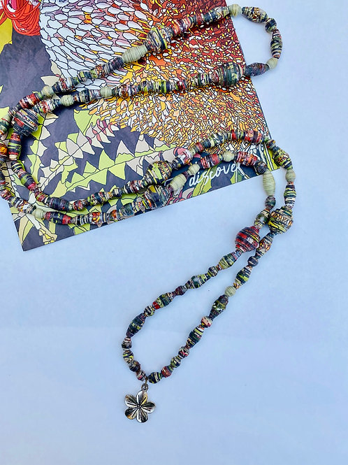 Hand Rolled Paper Bead Necklace