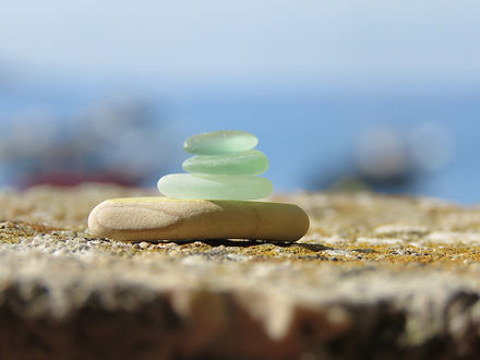 Stack of different sea glass pieces on t