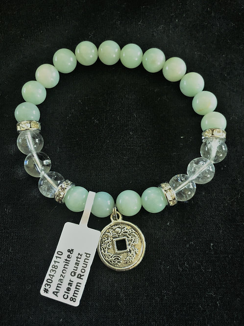 Amazonite & Clear Quartz Bracelet