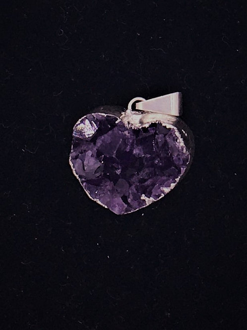 Amethyst Heart and Sterling Thick Cluster Pendant