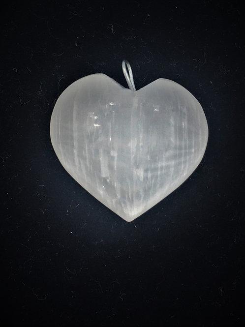 Polished Selenite Heart Pendant
