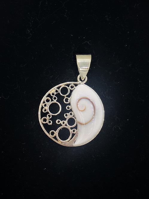 Yin Yang Shiva Eye and Sterling Pendant
