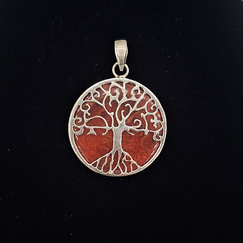 Red Coral and Sterling Tree of Life Pendant