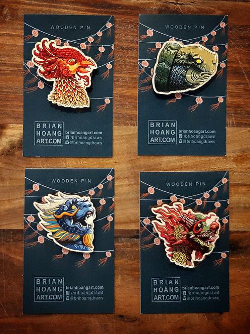 Mythical Vietnam Wooden Pin Set