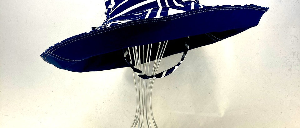 Corporate Check Navy XL brim sun hat