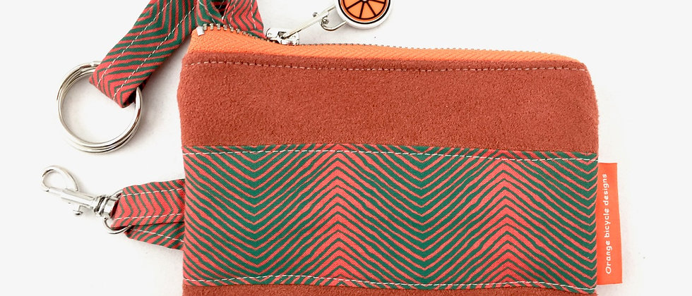 Orange herringbone fabric suede key case front