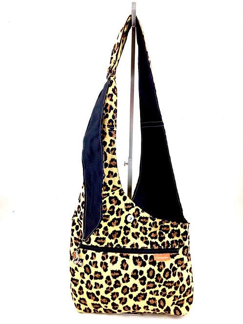 Leopard Print Cross Body Reversible Bag Front View