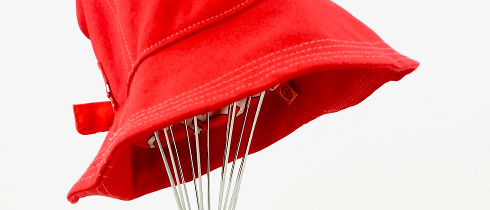 Red retro canvas reversible bucket hat