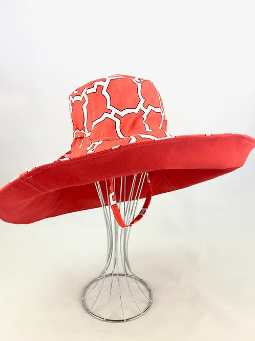 Red print extra wide brim sun hat sunhat reversible