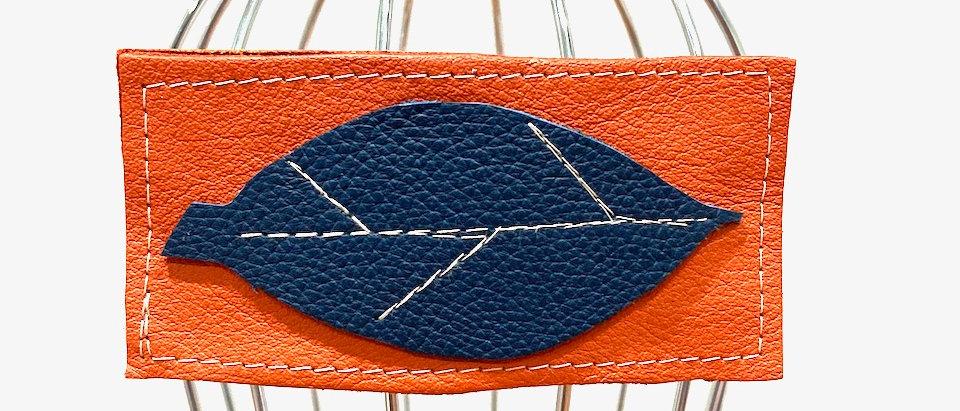 Orange Leaf leather hair clip