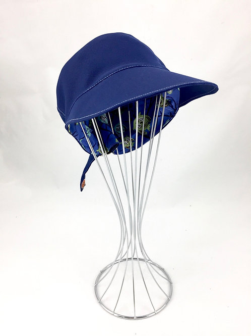 Blue Canvas Newsboy Cap Side Front View
