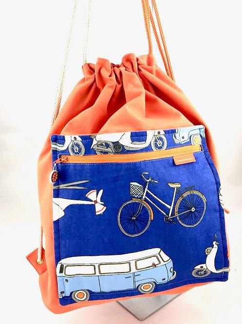 Orange Retro drawstring bag
