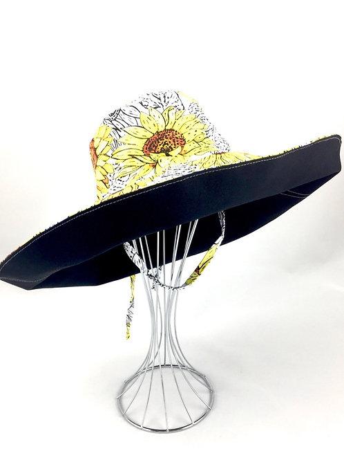 Sunflower print extra wide brim reversible sun hat sunhat