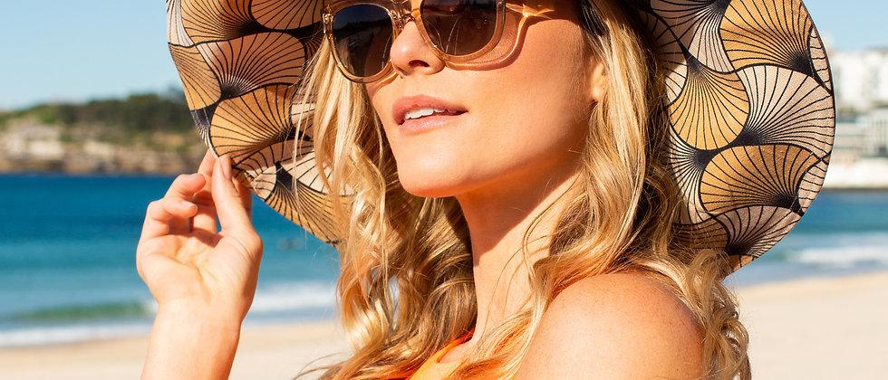 Art Deco Tan XL brim sun hat