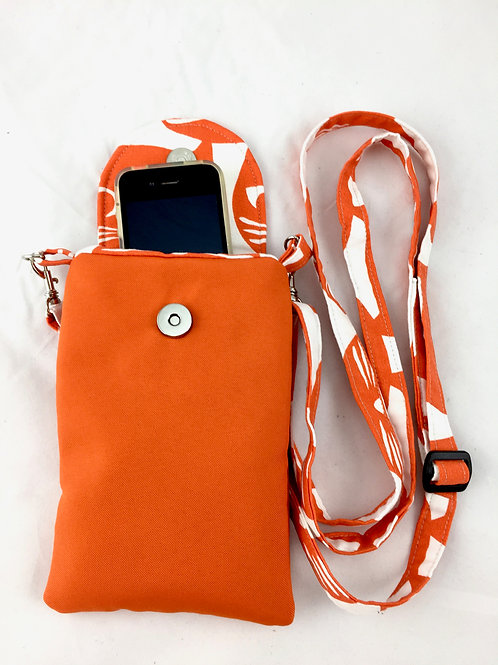 Orange Canvas Phone Case with Strap Front View