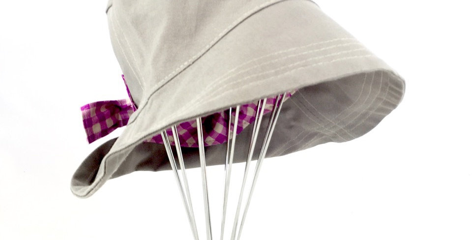 Light grey gray canvas retro bucket hat sun protection