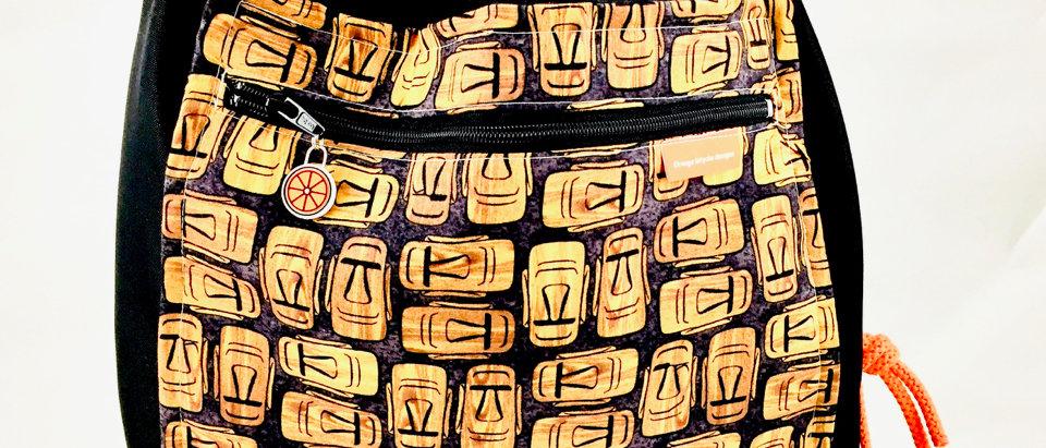 Black canvas drawstring back pack backpack tiki print