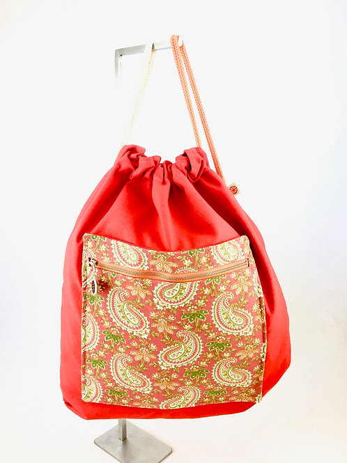 Red canvas paisley print drawstring back pack backpack
