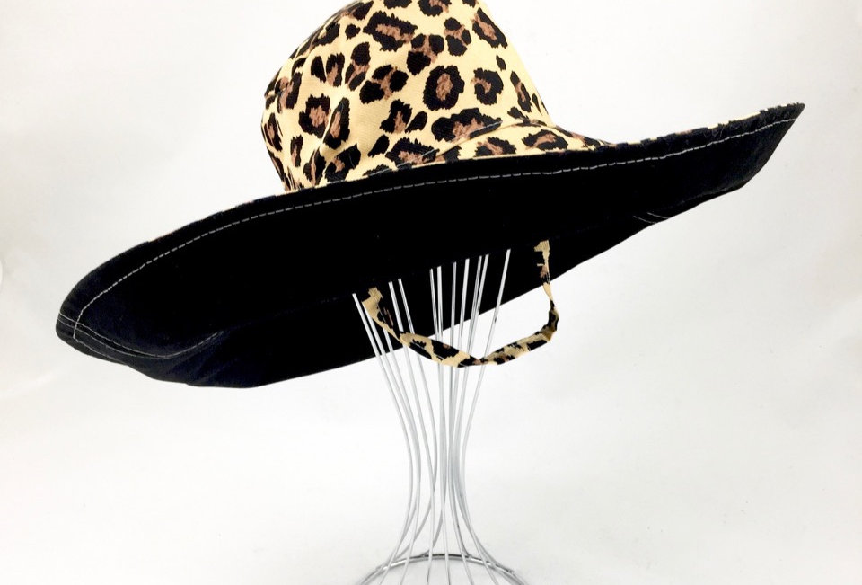 Leopard print extra wide brim sun hat sunhat reversible