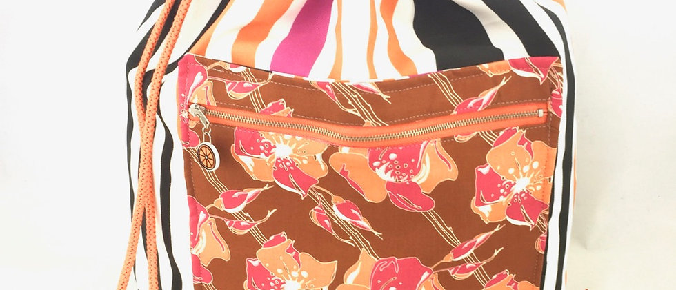 Multi stripe canvas drawstring bag backpack pockets handmade