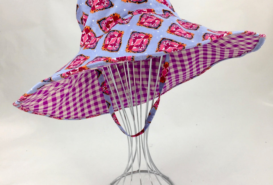 Boho Print Floppy Reversible Sunhat Side Front View