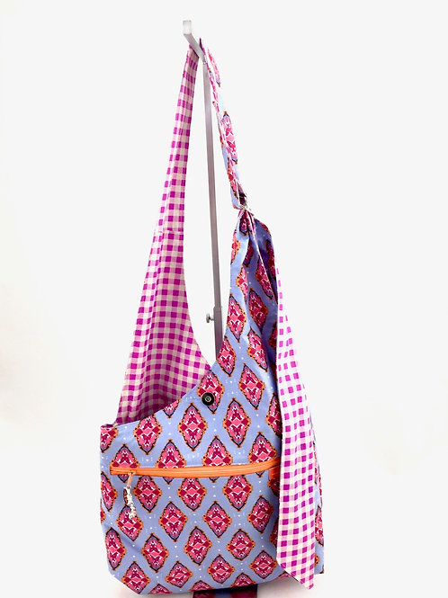 Boho Print Reversible Cross Body Bag Zipper Front View