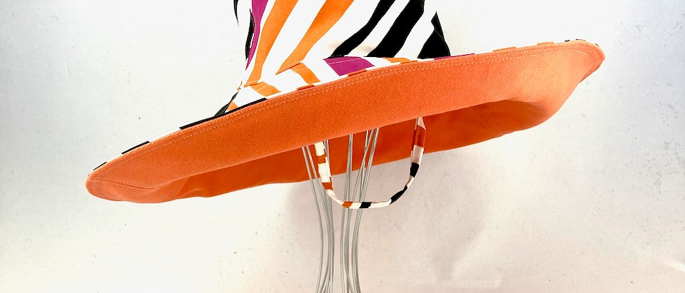 Orange multi stripe XL brim sun hat