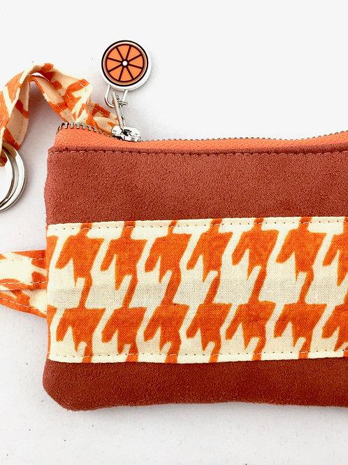 Orange houndstooth key case front