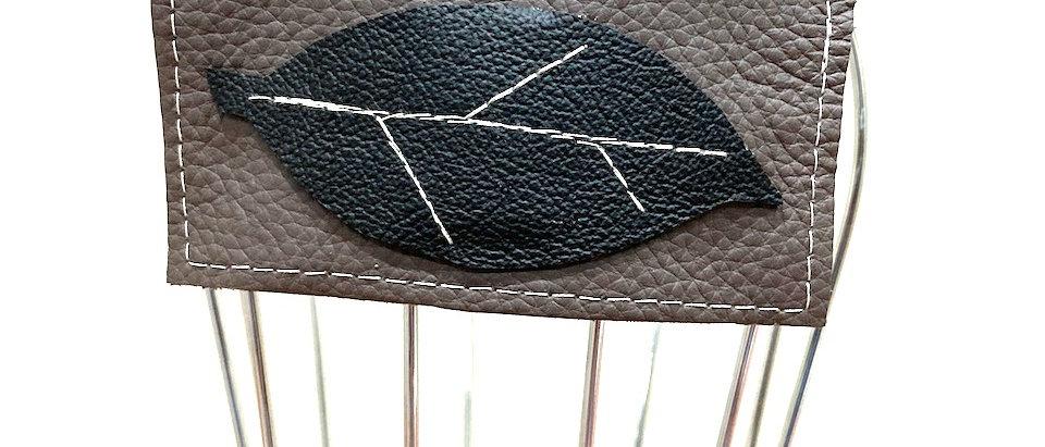 Grey Leaf leather hair clip